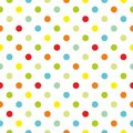 Tile colorful polka dots vector pattern with white background Royalty Free Stock Photo