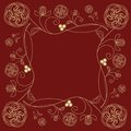 Tile with fine golden  flower motif in art deco style on dark red background. Royalty Free Stock Photo