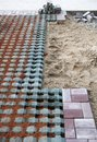 Tile laying site Stock Images