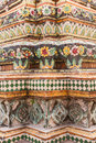 Tile pagoda in Wat Pho Bangkok, Thailand Royalty Free Stock Images