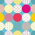 Tile patchwork vector pattern with polka dots on pastel background