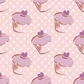 Tile vector pattern with cupcake and polka dots ba