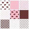 Tile pattern set with cupcakes and polka dots on a pastel pink Royalty Free Stock Photography