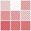Tile vector pattern set with pink and white plaid, stripes and polka dots background Royalty Free Stock Photo
