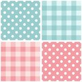Tile pink and blue vector pattern set with polka dots and checkered plaid Royalty Free Stock Photo