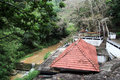 Tile roof of temple buddhist rock dhowa near bandarawela sri lanka Stock Photo