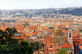 Tile roofs of nice france view from above cityscape with red cote d azur Royalty Free Stock Photo