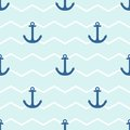 Tile sailor vector pattern with anchor on white and blue stripes background Royalty Free Stock Photo