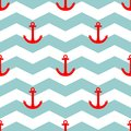 Tile sailor vector pattern with red anchor on white and blue stripes background Royalty Free Stock Photo