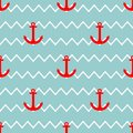 Tile sailor vector pattern with red anchor on white and green stripes background Royalty Free Stock Photo