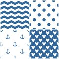 Tile sailor vector pattern set with polka dots, zig zag stripes and hearts on blue background