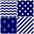Tile sailor vector pattern set with white anchor, polka dots, zig zag and stripes on navy blue background Royalty Free Stock Photo