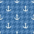 Tile sailor vector pattern with white anchor on blue houndstooth background Royalty Free Stock Photo