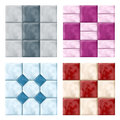 Tile set for bathrooms with different colors and decorations Stock Images