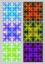 Tile set with square patterns in fractal style Sierpinski carpet. Textile sampler in different color variants. Variegated ornament