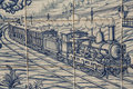 Tile talavera painting steam train and wagons machine called pottery is a type of ceramic which is manufactured in the Royalty Free Stock Image