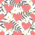 Tile tropical vector pattern with exotic leaves and pink hearts on white background