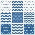 Tile vector chevron pattern set with sailor blue and white zig zag background for seamless decoration wallpaper Stock Photos