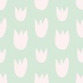 Tile vector floral pattern with hand drawn pink tulips on green background Royalty Free Stock Photo