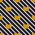 Tile vector pattern with black  stripes and golden hearts on white background Royalty Free Stock Photo
