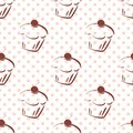 Tile vector pattern with cherry cupcakes and pink polka dots on white background Royalty Free Stock Photo
