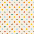 Tile vector pattern with colorful polka dots on pastel background Royalty Free Stock Photo