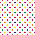 Tile vector pattern with colorful polka dots on white background Royalty Free Stock Photo