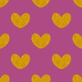 Tile vector pattern with golden hearts on pastel background