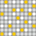 Tile vector pattern with grey, white and yellow polka dots on grey background Royalty Free Stock Photo