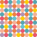 Tile vector pattern with pastel colorful polka dots on white background Royalty Free Stock Photo