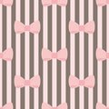 Tile vector pattern with pink bows on brown and white strips background Royalty Free Stock Photo