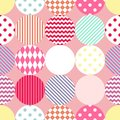 Tile vector pattern with polka dots on pastel pink background