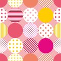 Tile vector pattern with polka dots on pink background