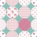 Tile vector pattern with polka dots, plaid and strips on pastel background