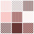 Tile vector pattern set with polka dots and stripes
