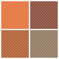 Tile vector pattern set with white polka dots on orange and brown background Royalty Free Stock Photo
