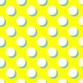 Tile vector pattern with white polka dots and mint green shadow on yellow background Royalty Free Stock Photo