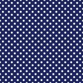 Tile vector pattern with white polka dots on navy blue background Royalty Free Stock Photo