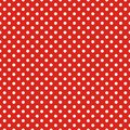 Tile vector pattern with white polka dots on red background Royalty Free Stock Photo