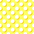 Tile vector pattern with white polka dots on yellow background Royalty Free Stock Photo