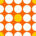 Tile vector pattern with white and yellow polka dots on orange background Royalty Free Stock Photo