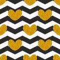 Tile vector pattern witn golden hearts and black and white chevron zig zag background Royalty Free Stock Photo