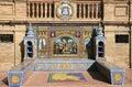 Tiled alcove. Plaza de Espana in Seville, Spain Royalty Free Stock Photo
