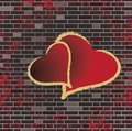 Tiled brick wall and the romance heart raster Stock Image