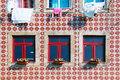 Tiled building facade in lisbon of a house downtown portugal Royalty Free Stock Image
