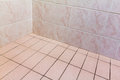Tiled corner interior close up photo of bathroom walls and floor Royalty Free Stock Photos