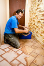 Tiler at work Royalty Free Stock Photo
