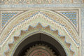 With tiles decorated door entrance to a mosque in fes morocco Royalty Free Stock Images