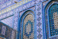 Tiles on the dome of the rock details ceramic tile pattern that covers exterior base shrine temple mount in Royalty Free Stock Photos
