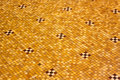 Tiles yellow floor made from marble mosaic stones Royalty Free Stock Photography